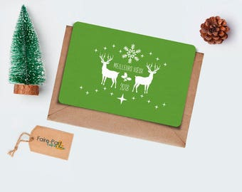 Christmas card / card of greetings green Rennes