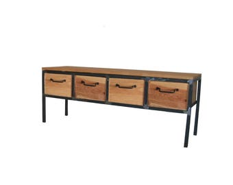 TV cabinet storage raw steel and wood