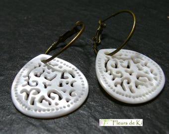 Designer jewelry: Earrings mother of Pearl bronze embroidery