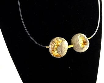 "Necklace, contemporary jewelry ""2 beads orbit concrete...""."