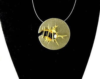 """Pendant Necklace in concrete, contemporary jewelry, """"Disk at the staples..."""""""