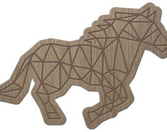HORSE - ORIGAMI - laser cut wood - brooch