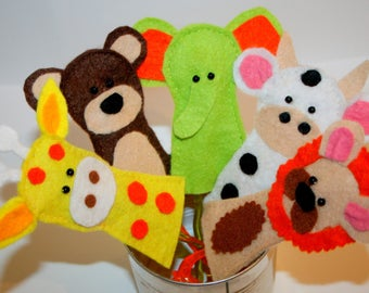 Felt animal finger puppets