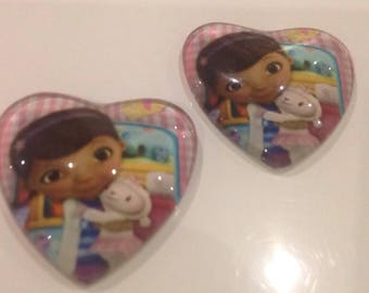 Set of 2 cabochon 25mm heart toy doctor