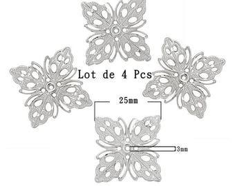 Embellissements carré  représentant des feuilles. Taille 25mm, ton argenté lot 4Pcs