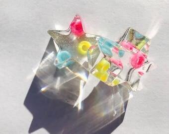 Star Stud Bead Resin Earrings.