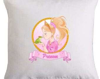 Princess and her PRINCE frog pillow personalized with the name of your choice