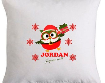 Christmas owl pillow personalized with name 2
