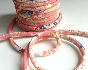 Japanese cord 8mm, Chirimen, cherry blossom pattern, pink (C3003-8)