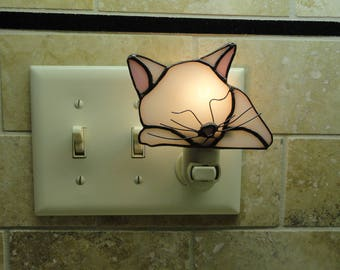 Stained Glass Cat Night Light