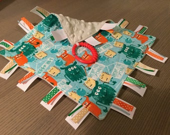 Crinkle Blanket Sensory Toy ~ Monster Zone (aka: blankie, crinkle toy, security blanket, ribbon toy, baby toy)