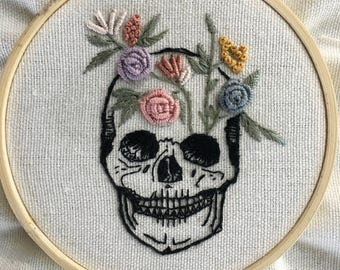 Hand Embroidered Skull and Roses, memento mori, floral art, death art