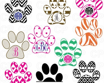 Paw Print SVG Cut Files, Paw Print Clipart, Paw Print Monogram Frames Cut Files for Cricut, Silhouette Studio_Digital Download