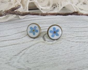 Vintage earrings chips * Myosotis, forget me not * handmade