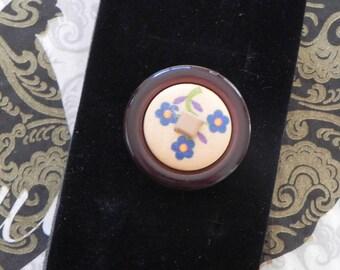 pretty blue adjustable flower ring