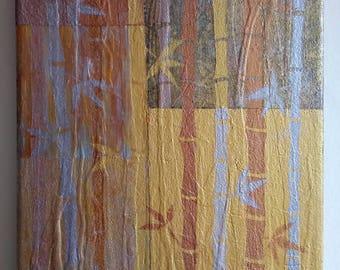 Bamboo Abstract Metallic Acrylic Canvas