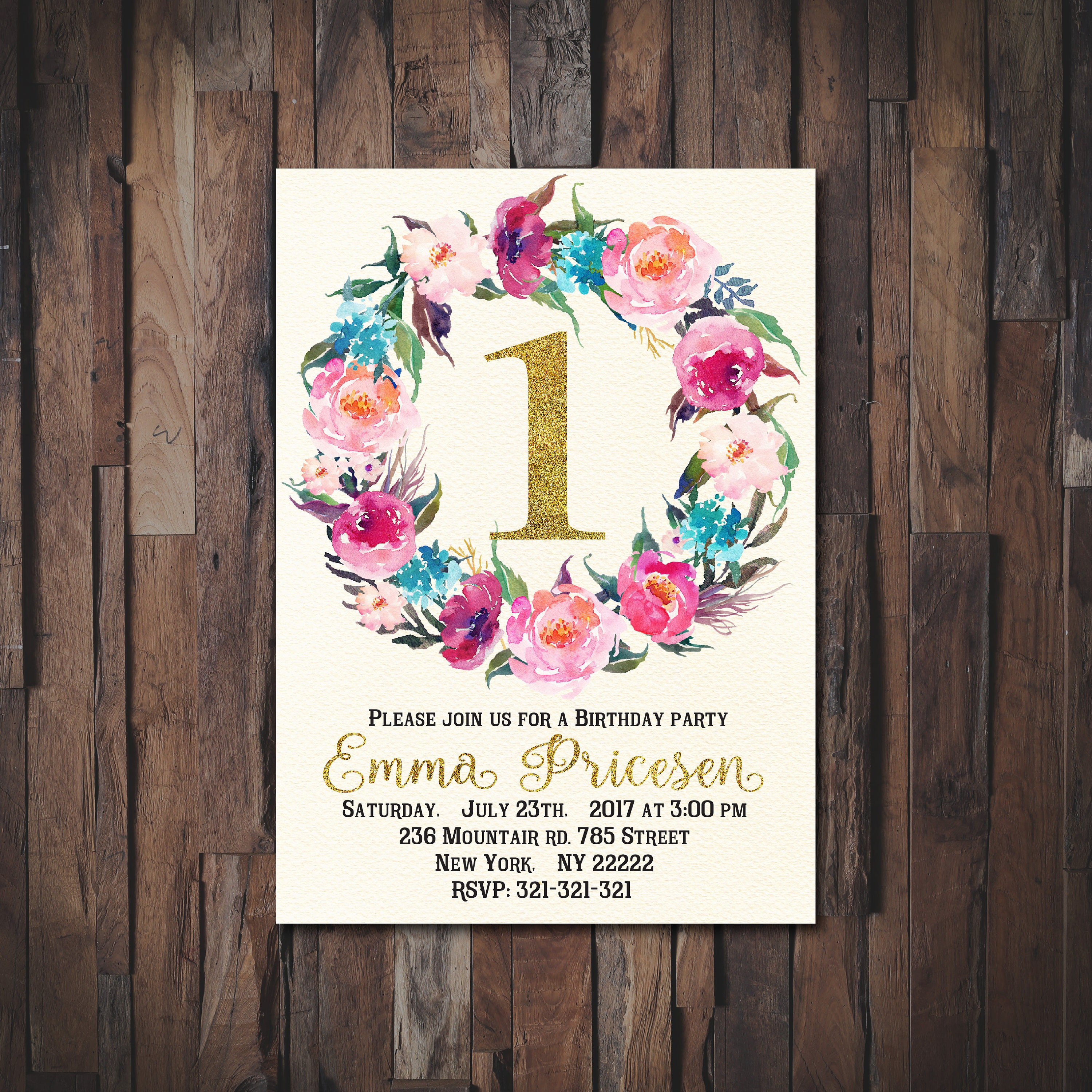 Floral first birthday 1st birthday invitation first birthday floral first birthday 1st birthday invitation first birthday party invitations girl boho monicamarmolfo Image collections