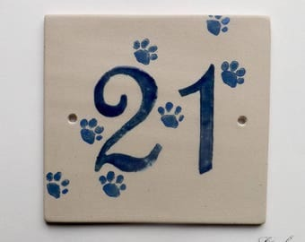 Street number 21 ceramic (stoneware), Blue Cat paws on a beige background, resistant to frost