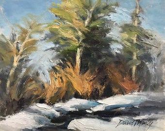 Winter Creek, Snow, Winter Landscape, Original Plein Air Oil on Canvas 8x10