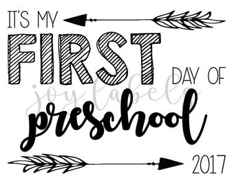 Printable First Day of School Signs for 2017 First Day pictures Download - Preschool, instant download