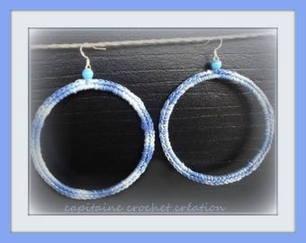 hoop earrings women tricolor blue hand made from a rigid support