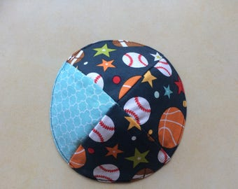 sporty Kippah-kids kippah-boys-playballs-sport-balls-basketball-baseball-Kipa-Kippot-Yarmulke-Jewish-Judaica-Handmade-Israel-Cloth-New-Kids