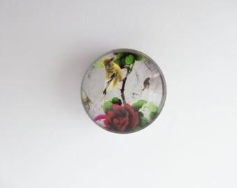 Button snap Chunk pink bird 18mm