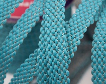 Lace Turquoise wire Gold 1.4 cm x 1 m