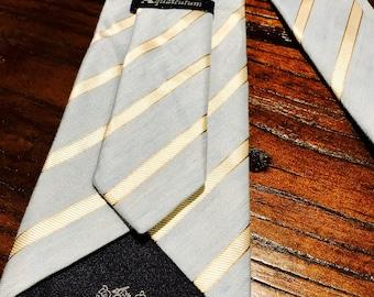 Aquascutum Tie (Blue, Ivory, made of shirt material)