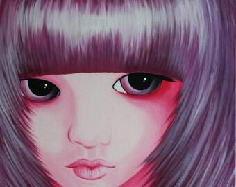 "Tableau Peinture Acrylique visage manga BJD ""My Doll"""