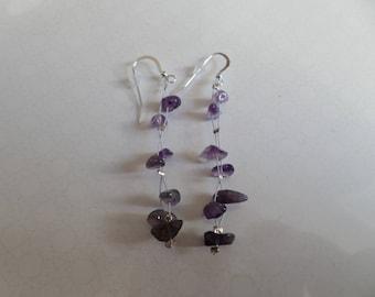 Amethyst earrings silver, length 4cm, handmade.