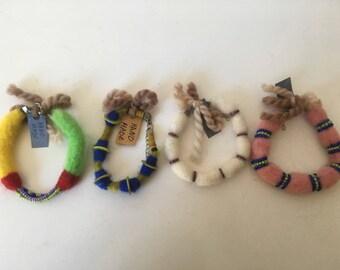Beautiful and colourful felt bracelets