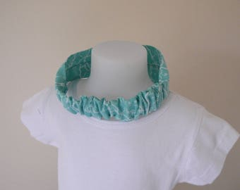 Mint green and white elastic baby headband