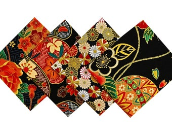 Set Japanese fabric - Lot fabric flower - Patchwork - Japanese fabric - Black 4 Coupons 24x25cm fabric Coupon - CP27