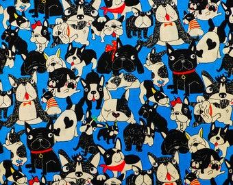 Dog fabric - Fabric - fabric Bulldog - Bulldog dog - Coupon 50x50cm TU255 blue pattern fabric