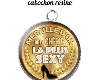 20 mm resin cabochon pendant medal sweetheart... 1