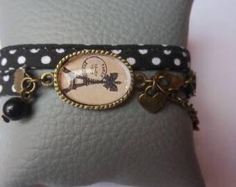 Bracelet fabric edge glass cabochon