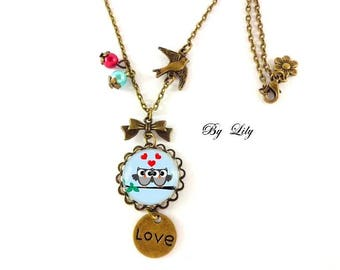 """""""2 owls in love"""" necklace, retro pendant cabochons!"""