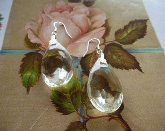 Vintage transparent faceted pendant for pierced earrings