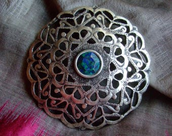 Chrysocolla stone and silver metal Medallion * 7 cm * crafted openwork