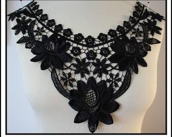 Cowl neck dress, top D ref customisation black guipure lace applique