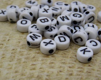 3 alphabets puck black white plastic 6mm beads