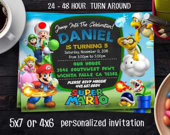 Super Mario Brother Invitation, Super Mario Brothers Birthday Invitation, Super Mario Bros Birthday Invitation, SUPER MARIO INVITATION