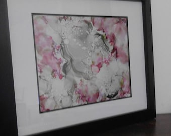 Cherry Blossom, Original Artwork, One-Of-A-Kind, Alcohol Ink, Abstract, Modern Decor, Glass, Fire Ink Art, Minimalist