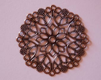 Print flower filigree copper 50mm