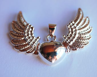 Pendant - 925 sterling silver silver winged heart ❤