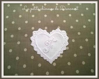 Monogram in heart lace