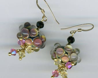 "* Earrings 14KT gold plated Artisanales ""Pink, yellow and black"""