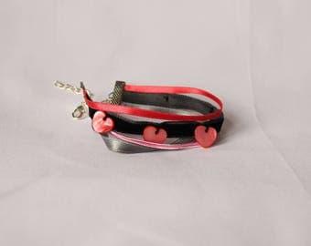 Bracelet manchette rubans et nacre