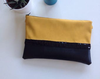 Leather clutch mustard yellow and black